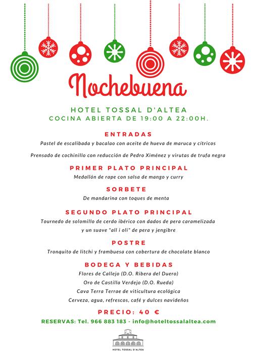 CENA DE NOCHEBUENA 2019 HOTEL TOSSAL D'ALTEA