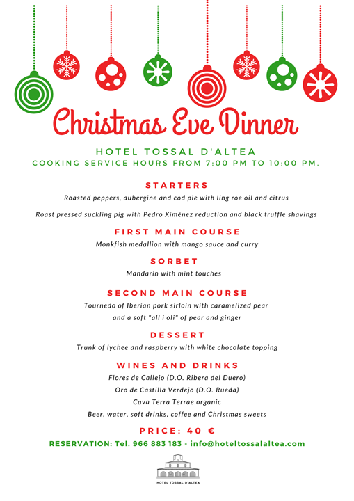 CHRISTMAS EVE DINNER 2019 HOTEL TOSSAL D'ALTEA