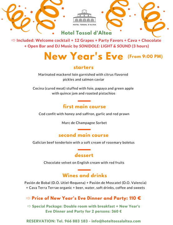 NEW YEAR'S EVE 19-20 HOTEL TOSSAL D'ALTEA