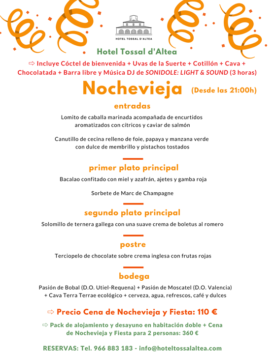 NOCHEVIEJA 19-20 HOTEL TOSSAL D'ALTEA