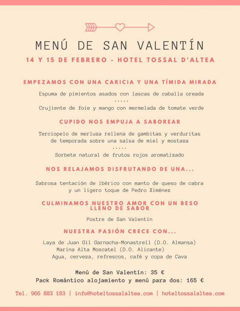 Menú San Valentín Hotel Tossal Altea blog