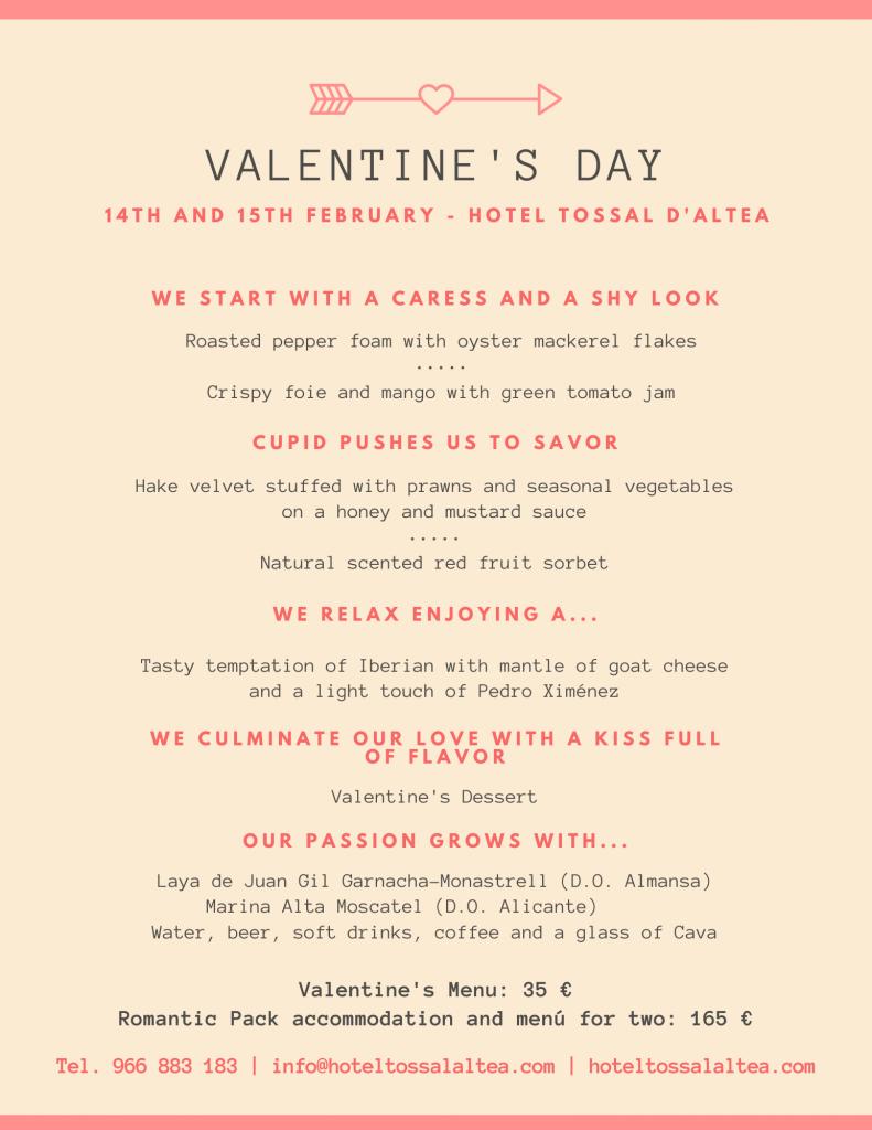 Valentine's Day Menu 2020 Hotel Tossal d'Altea blog
