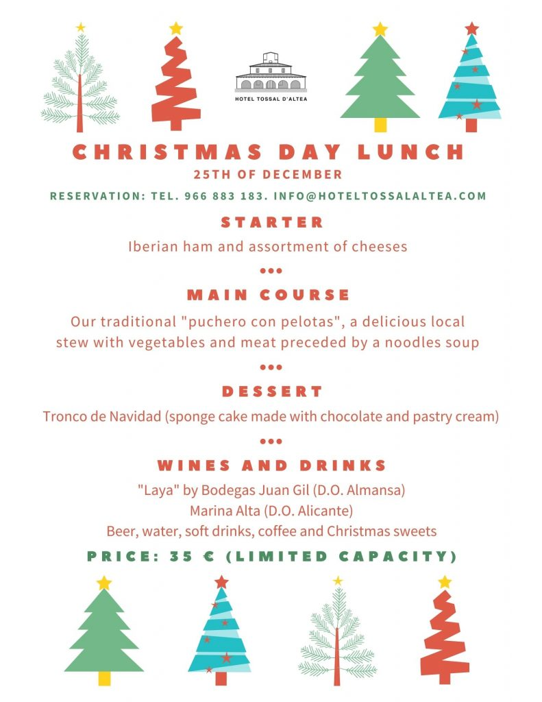 CHRISTMAS DAY LUNCH HOTEL TOSSAL ALTEA