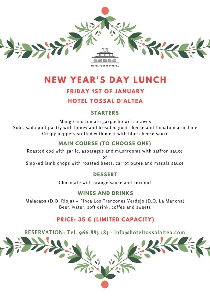 NEW YEARS DAY LUNCH HOTEL TOSSAL ALTEA